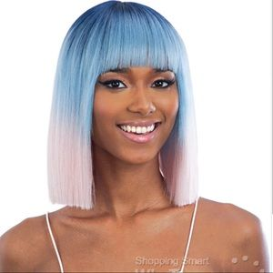 Baby pink and blue china bang wig brand new!